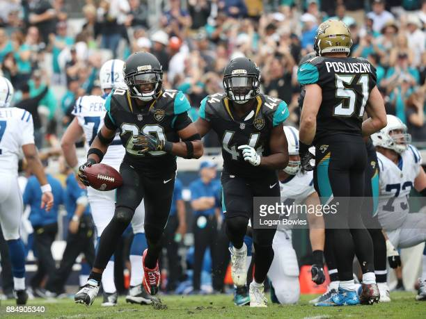 Jalen Ramsey of the Jacksonville Jaguars and his teammates celebrate after Ramsey had a an interception in the first half of their game against the...