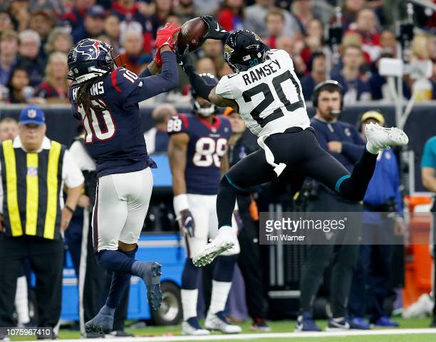 Jalen Ramsey of the Jacksonville Jaguars breaks up a pass intended for DeAndre Hopkins of the Houston Texans in the fourth quarter at NRG Stadium on...