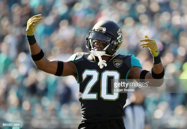 Jalen Ramsey of the Jacksonville Jaguars celebrates a play during the second half of their game against the Houston Texans at EverBank Field on...