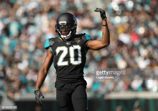 Jalen Ramsey of the Jacksonville Jaguars celebrates a play in the second half of their game against the Los Angeles Chargers at EverBank Field on...
