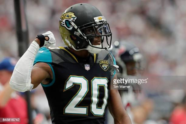 Jalen Ramsey of the Jacksonville Jaguars celebrates after a tackle in the third quarter against the Houston Texans at NRG Stadium on September 10...