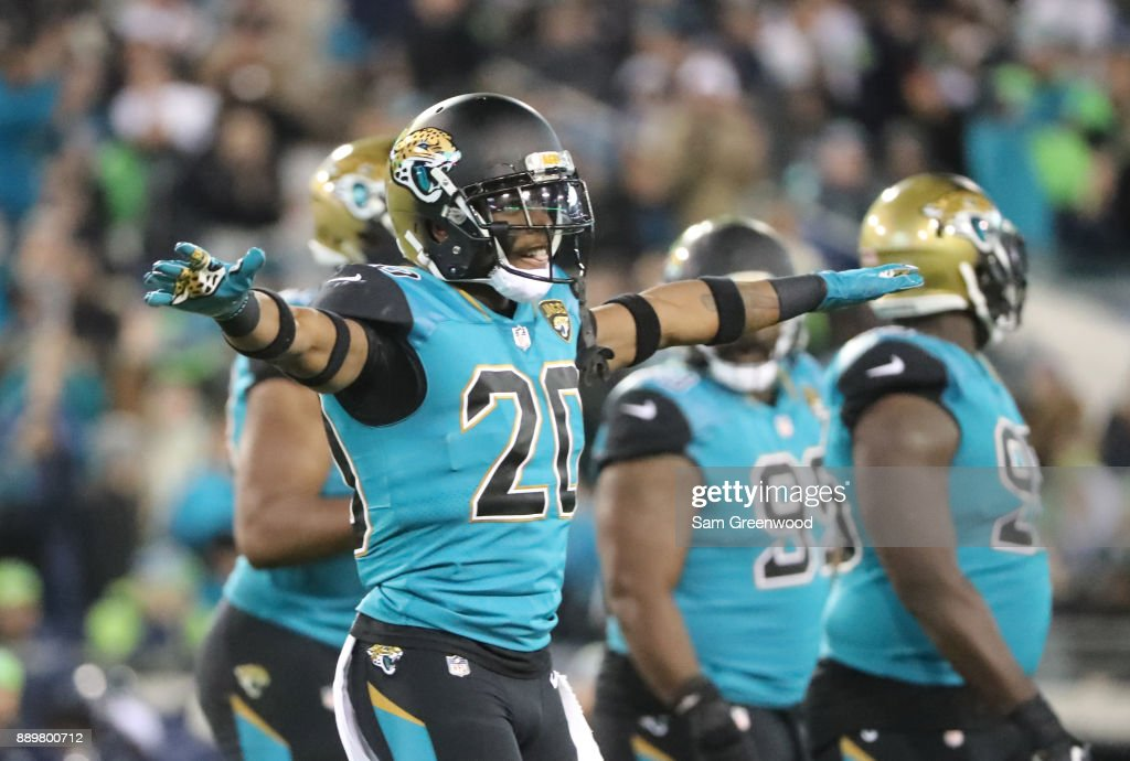 Jalen Ramsey #20 of the Jacksonville Jaguars celebrates after an interception during the first half of their game against the Seattle Seahawks at EverBank Field on December 10, 2017 in Jacksonville, Florida.