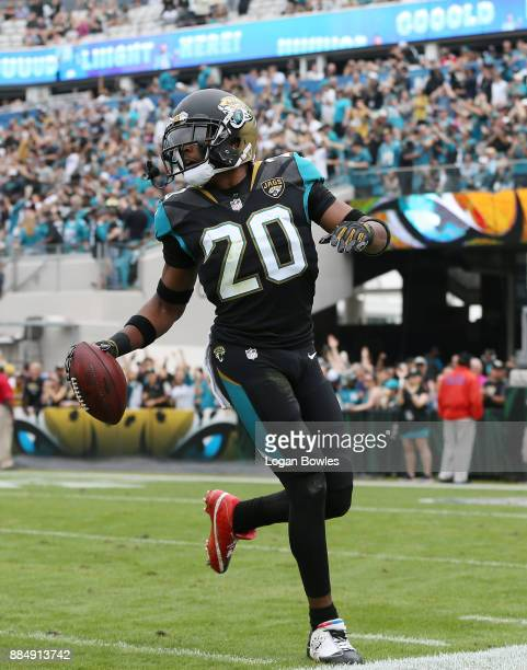 Jalen Ramsey of the Jacksonville Jaguars celebrates after an interception in the first half of their game against the Indianapolis Colts at EverBank...