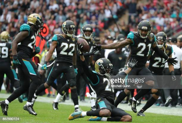 Jalen Ramsey of the Jacksonville Jaguars celebrates after making an interception during the NFL match between The Jacksonville Jaguars and The...