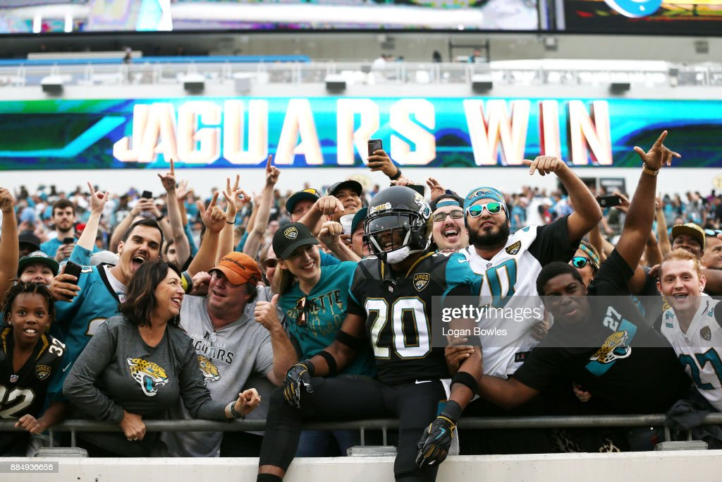 Jalen Ramsey #20 of the Jacksonville Jaguars celebrates with fans after the Jaguars defeated the Indianapolis Colts 30-10 at EverBank Field on December 3, 2017 in Jacksonville, Florida.
