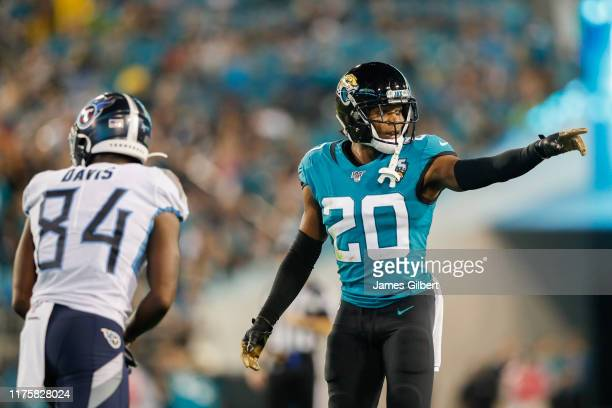 Jalen Ramsey of the Jacksonville Jaguars defends against Corey Davis of the Tennessee Titans during the third quarter of a game at TIAA Bank Field on...