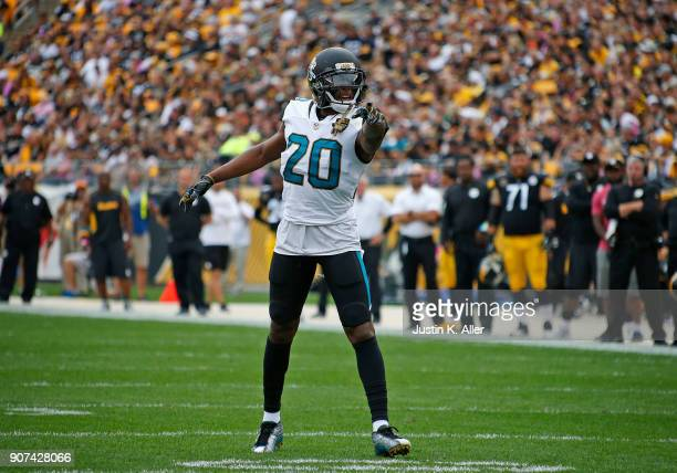 Jalen Ramsey of the Jacksonville Jaguars in action against the Pittsburgh Steelers on October 8 2017 at Heinz Field in Pittsburgh Pennsylvania