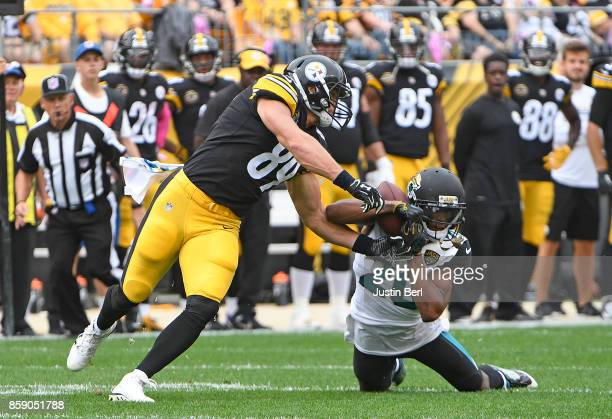 Jalen Ramsey of the Jacksonville Jaguars intercepts a pass intended for Vance McDonald of the Pittsburgh Steelers in the first quarter during the...