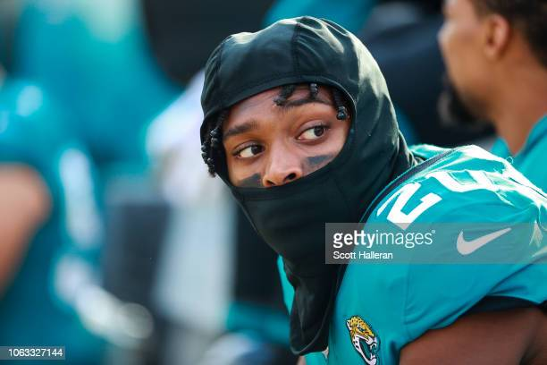 Jalen Ramsey of the Jacksonville Jaguars is seen on the bench during the second half of the game against the Pittsburgh Steelers at TIAA Bank Field...