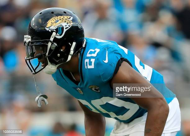 Jalen Ramsey of the Jacksonville Jaguars lines up during the game against the New England Patriots at TIAA Bank Field on September 16 2018 in...