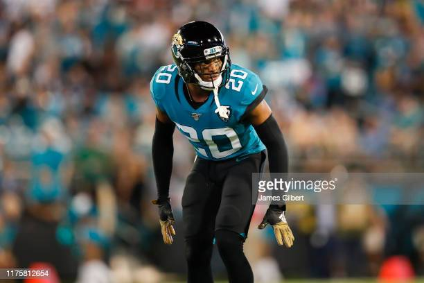 Jalen Ramsey of the Jacksonville Jaguars looks on during the first quarter against the Tennessee Titans at TIAA Bank Field on September 19 2019 in...