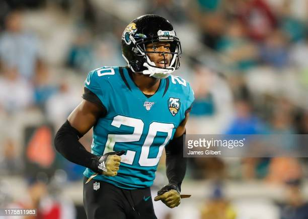 Jalen Ramsey of the Jacksonville Jaguars looks on during the second quarter of a game against the Tennessee Titans at TIAA Bank Field on September 19...