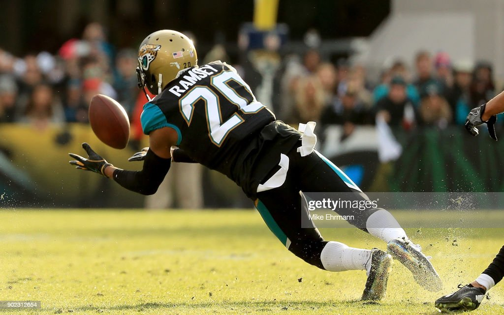Jalen Ramsey #20 of the Jacksonville Jaguars makes an interception during AFC Wild Card playoff game against the Buffalo Bills at EverBank Field on January 7, 2018 in Jacksonville, Florida.