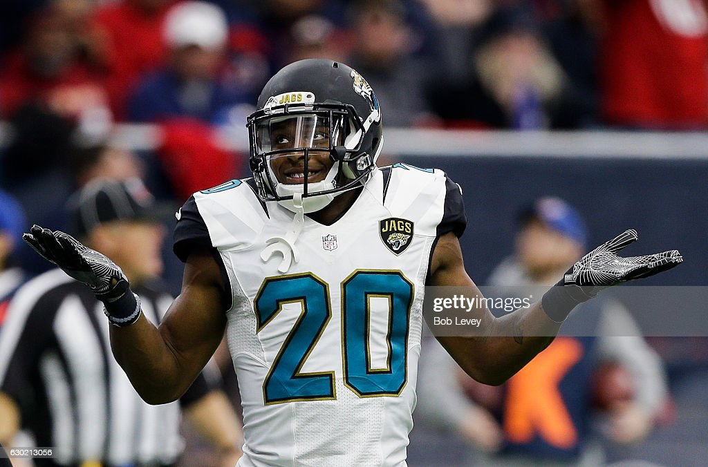 Jalen Ramsey #20 of the Jacksonville Jaguars plays to the crowd after he knocked the ball away from DeAndre Hopkins #10 of the Houston Texans at NRG Stadium on December 18, 2016 in Houston, Texas.