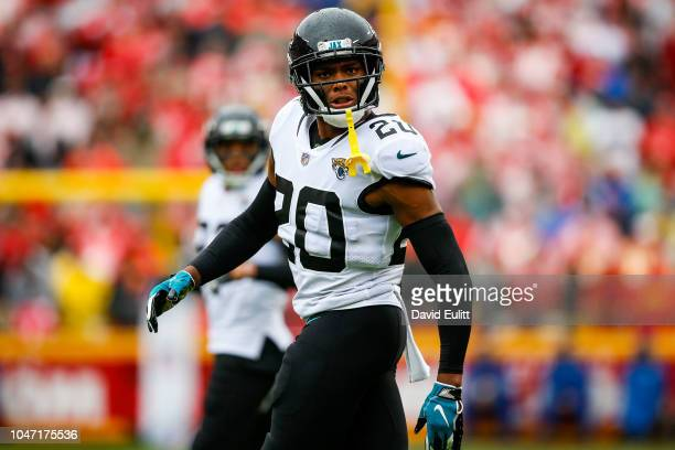 Jalen Ramsey of the Jacksonville Jaguars postures to the crowd after a tackle during the first quarter of the game against the Kansas City Chiefs at...