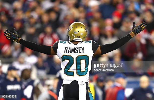 Jalen Ramsey of the Jacksonville Jaguars reacts during the second half of the AFC Championship Game against the New England Patriots at Gillette...