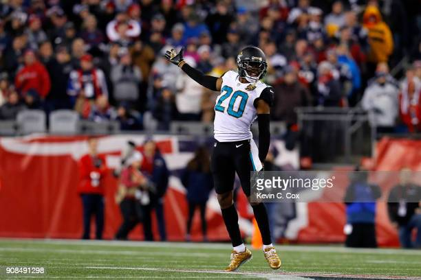 Jalen Ramsey of the Jacksonville Jaguars reacts in the second half during the AFC Championship Game against the New England Patriots at Gillette...