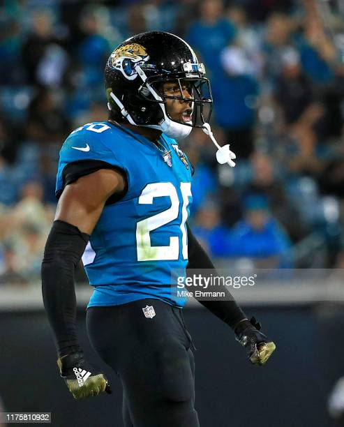 Jalen Ramsey of the Jacksonville Jaguars reacts to a play during a game against the Tennessee Titans at TIAA Bank Field on September 19 2019 in...
