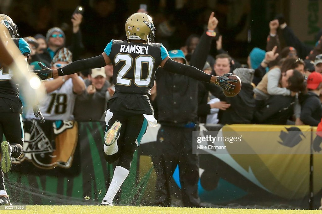 Jalen Ramsey #20 of the Jacksonville Jaguars reacts to an interception during AFC Wild Card playoff game against the Buffalo Bills at EverBank Field on January 7, 2018 in Jacksonville, Florida.