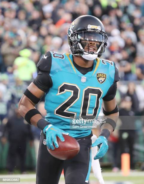 Jalen Ramsey of the Jacksonville Jaguars runs through the end zone after an interception during the first half of their game against the Seattle...