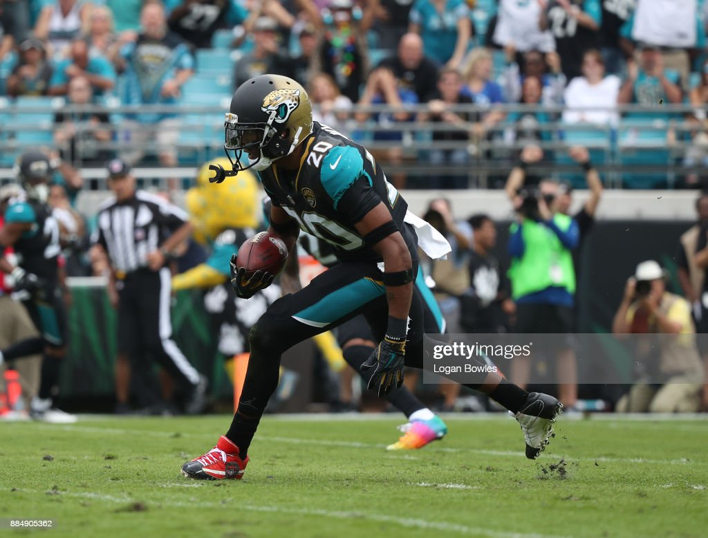Jalen Ramsey #20 of the Jacksonville Jaguars runs with the football after an interception in the first half of their game against the Indianapolis Colts at EverBank Field on December 3, 2017 in Jacksonville, Florida.