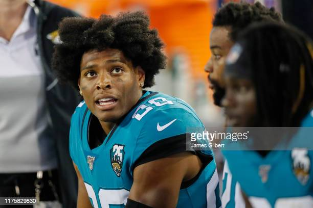 Jalen Ramsey of the Jacksonville Jaguars sits on the bench during the third quarter of a game against the Tennessee Titans at TIAA Bank Field on...
