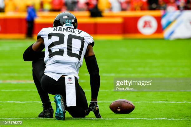 Jalen Ramsey of the Jacksonville Jaguars takes a knee after being briefly injured following a tackle during the first quarter of the game against the...