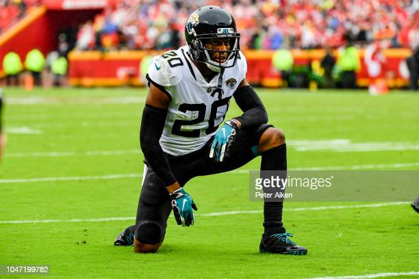 Jalen Ramsey of the Jacksonville Jaguars takes a knee between plays during the second quarter of the game against the Kansas City Chiefs at Arrowhead...