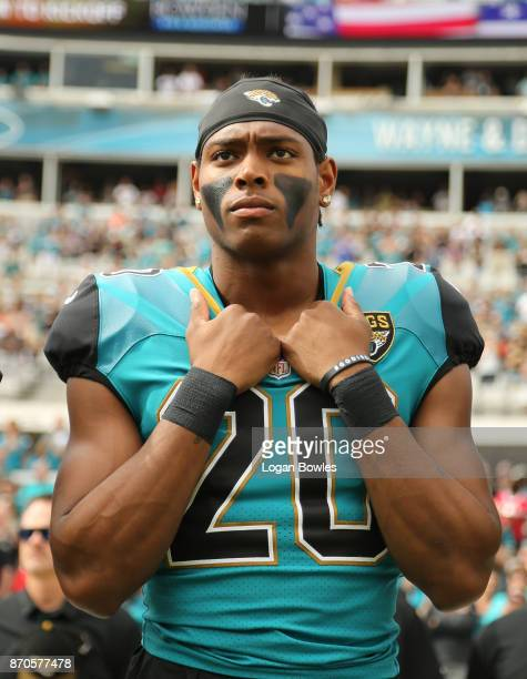 Jalen Ramsey of the Jacksonville Jaguars waits in the bench area prior to the start of their game against the Cincinnati Bengals at EverBank Field on...
