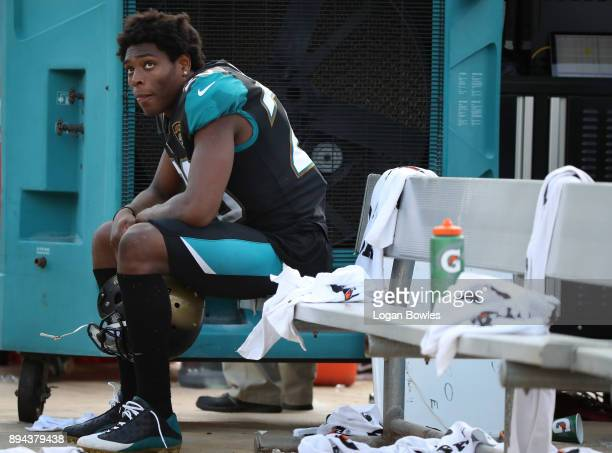 Jalen Ramsey of the Jacksonville Jaguars waits on the bench during the second half of their game against the Houston Texans at EverBank Field on...