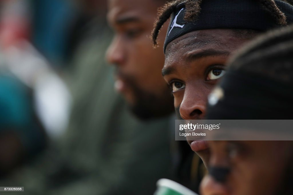 Jalen Ramsey #20 of the Jacksonville Jaguars waits on the bench in the second half of their game against the Los Angeles Chargers at EverBank Field on November 12, 2017 in Jacksonville, Florida.