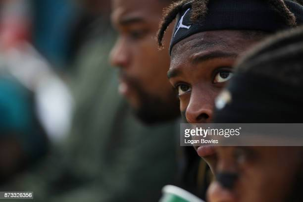 Jalen Ramsey of the Jacksonville Jaguars waits on the bench in the second half of their game against the Los Angeles Chargers at EverBank Field on...