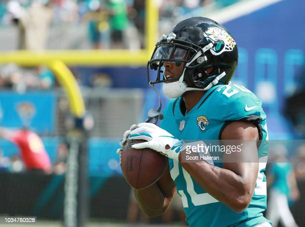 Jalen Ramsey of the Jacksonville Jaguars waits on the field before the start of their game against the New England Patriots at TIAA Bank Field on...