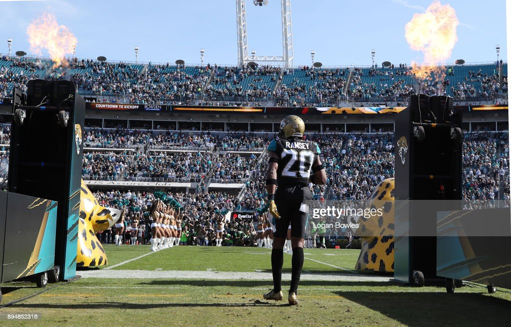 Jalen Ramsey #20 of the Jacksonville Jaguars walks to the field before their game against the Houston Texans at EverBank Field on December 17, 2017 in Jacksonville, Florida.