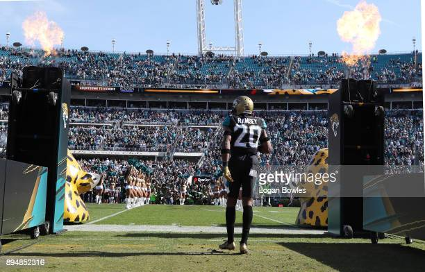 Jalen Ramsey of the Jacksonville Jaguars walks to the field before their game against the Houston Texans at EverBank Field on December 17 2017 in...