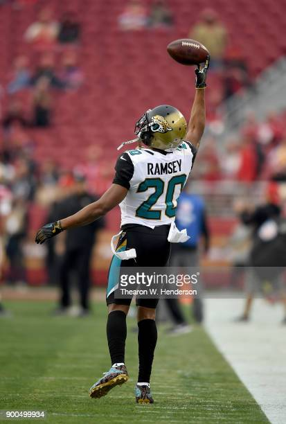 Jalen Ramsey of the Jacksonville Jaguars warms up during pregame warm ups prior to the start of an NFL football game against the San Francisco 49ers...