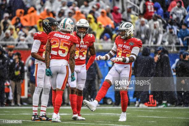 Jalen Ramsey of the Jacksonville Jaguars Xavien Howard of the Miami Dolphins Derwin James of the Los Angeles Chargers and Jamal Adams of the New York...