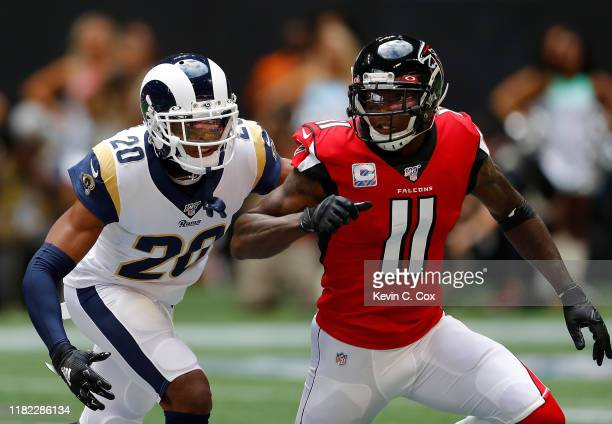 Jalen Ramsey of the Los Angeles Rams defends against Julio Jones of the Atlanta Falcons in the first half at MercedesBenz Stadium on October 20 2019...