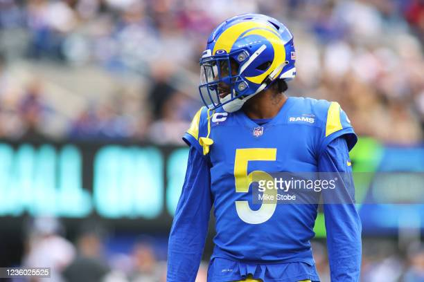 Jalen Ramsey of the Los Angeles Rams in action against the New York Giants at MetLife Stadium on October 17, 2021 in East Rutherford, New Jersey. Los...