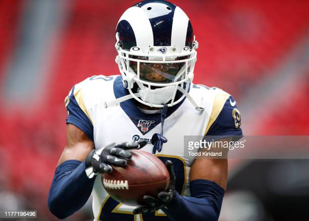 Jalen Ramsey of the Los Angeles Rams warms up prior to an NFL game against the Atlanta Falcons at MercedesBenz Stadium on October 20 2019 in Atlanta...