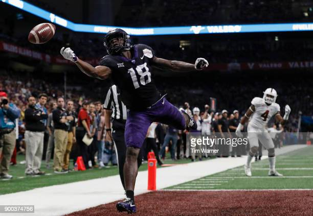 Jalen Reagor of the TCU Horned Frogs cannot make the catch in the end zone in the second half of the Valero Alamo Bowl against the Stanford Cardinal...