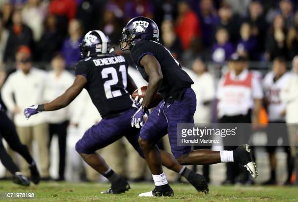 Jalen Reagor of the TCU Horned Frogs runs the ball against the Oklahoma State Cowboys at Amon G Carter Stadium on November 24 2018 in Fort Worth Texas