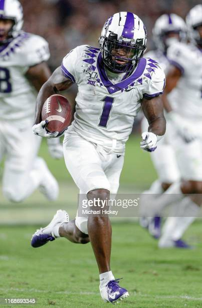 Jalen Reagor of the TCU Horned Frogs runs the ball during the game against the Purdue Boilermakers at RossAde Stadium on September 14 2019 in West...