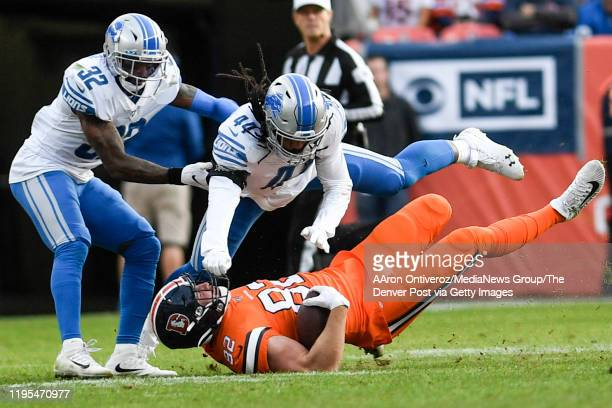 Jalen Reeves-Maybin of the Detroit Lions blows up Jeff Heuerman of the Denver Broncos during the second quarter on Sunday, December 22, 2019.