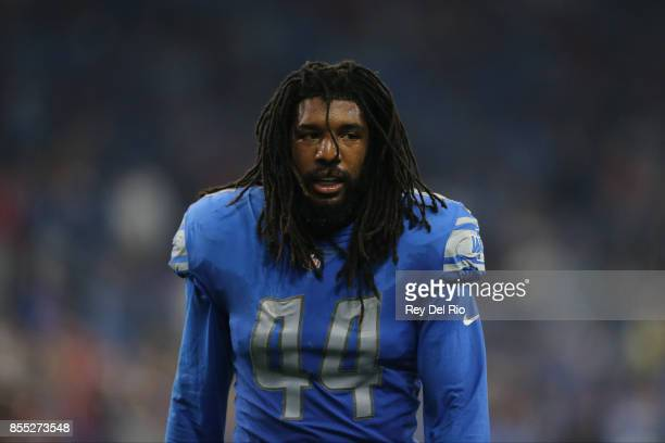 Jalen Reeves-Maybin of the Detroit Lions walks to the locker room at halftime against the Atlanta Falcons at Ford Field on September 24, 2017 in...