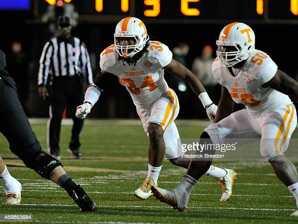 Jalen Reeves-Maybin of the Tennessee Volunteers plays against the Vanderbilt Commodores at Vanderbilt Stadium on November 29, 2014 in Nashville,...
