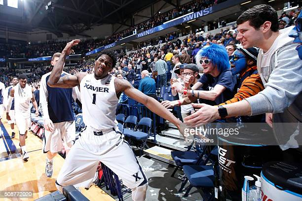 Jalen Reynolds of the Xavier Musketeers celebrates after the game against the Marquette Golden Eagles at Cintas Center on February 6 2016 in...
