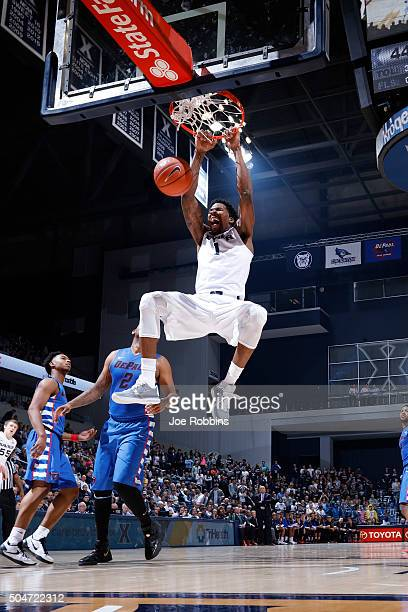 Jalen Reynolds of the Xavier Musketeers dunks against the DePaul Blue Demons in the second half of the game at Cintas Center on January 12 2016 in...