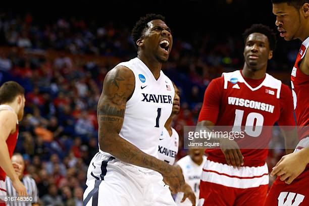 Jalen Reynolds of the Xavier Musketeers reacts after a play in the second half against the Wisconsin Badgers during the second round of the 2016 NCAA...