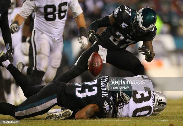 Jalen Richard of the Oakland Raiders fumbles after being tackled by Rodney McLeod of the Philadelphia Eagles during the fourth quarter of a game at...